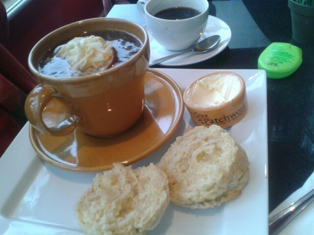 Onion soup and scone