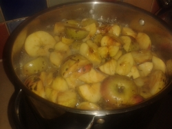 Apples merrily bubbling away