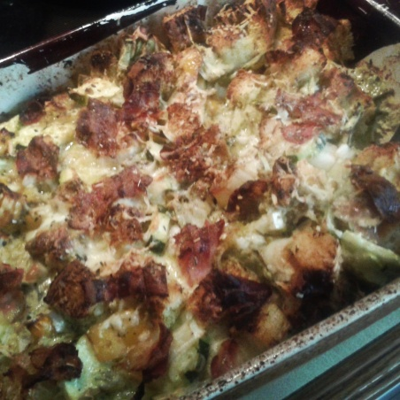 Savoury bread pudding!