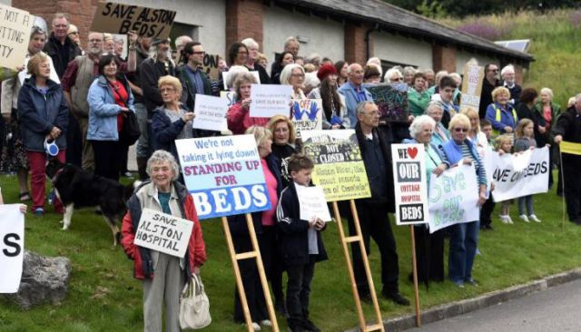 Alston Hospital campaigners pictured before the start of the Success Regime Health meeting,