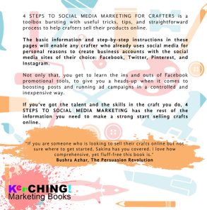 Back cover of 4 STEPS TO SOCIAL MEDIA MARKETING FOR CRAFTERS